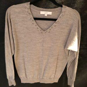 Loft embellished gray sweater